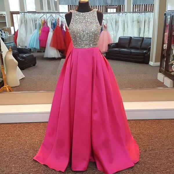 Hot Pink Prom Dress, O Neck Prom Dress, Beaded Prom Dress, Satin Prom Dress, Luxury Prom Dress, Elegant Prom Dress, Cheap Prom Dress, Rhinestones Prom Dress, Women Prom Gown, Floor Length Prom Dress, Vestido De Longo