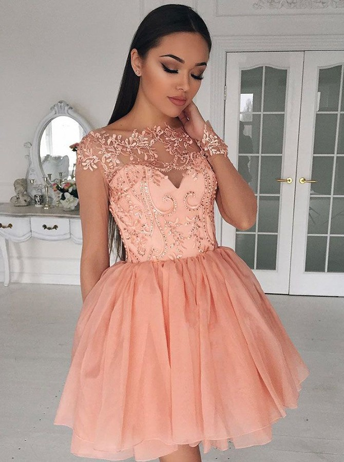 Peach Homecoming Dress, Beaded Prom Dress, Tulle Prom Dress ...