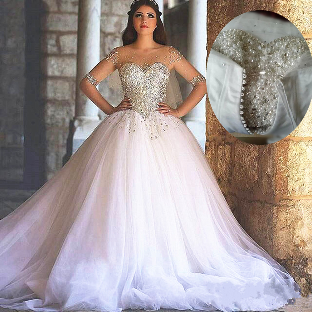 Crystal Wedding Gown: Rhinestone Wedding Dress, Crystals Wedding Dress, White