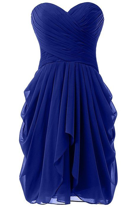 Royal Blue Bridesmaid Dress Short Chiffon Mermaid Wedding Party